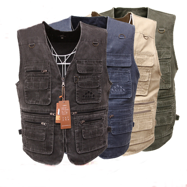 2017 Men's vest Quick-Drying Men Jacket Men's Denim Vest Jean Sleeveless Jacket Waistcoat Plus Size With Many Pockets