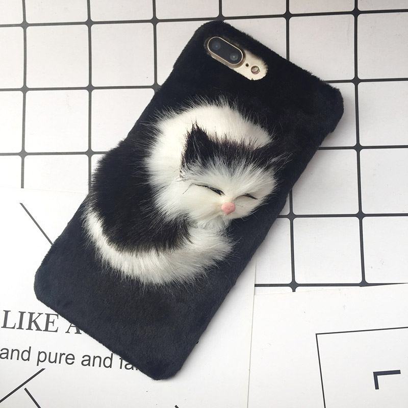 Lovely DIY Cat Furry Warm Phone Cases For iPhone X 8 Plus Hard PC Plush hair Fur Cover for iPhone 6 6S Plus 7 8 Christmas Gift (4)