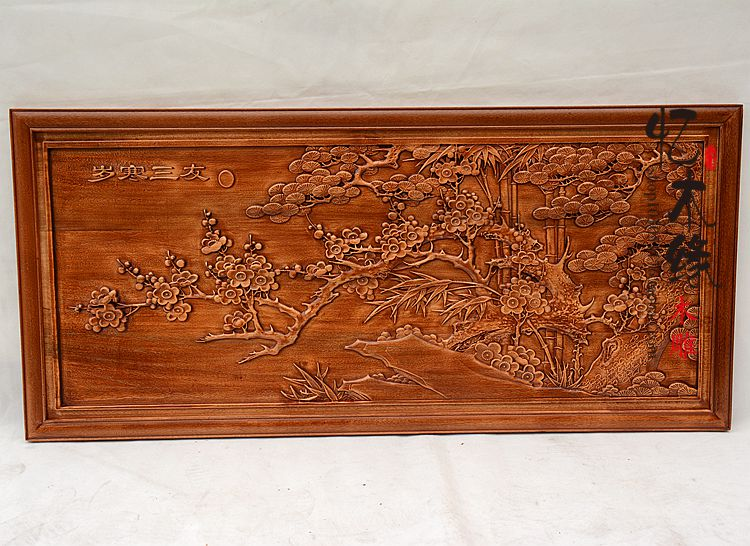 Dongyang wood carving Pendant Antique Chinese style decoration hanging wood camphor wood cross screen TV background wall decorat