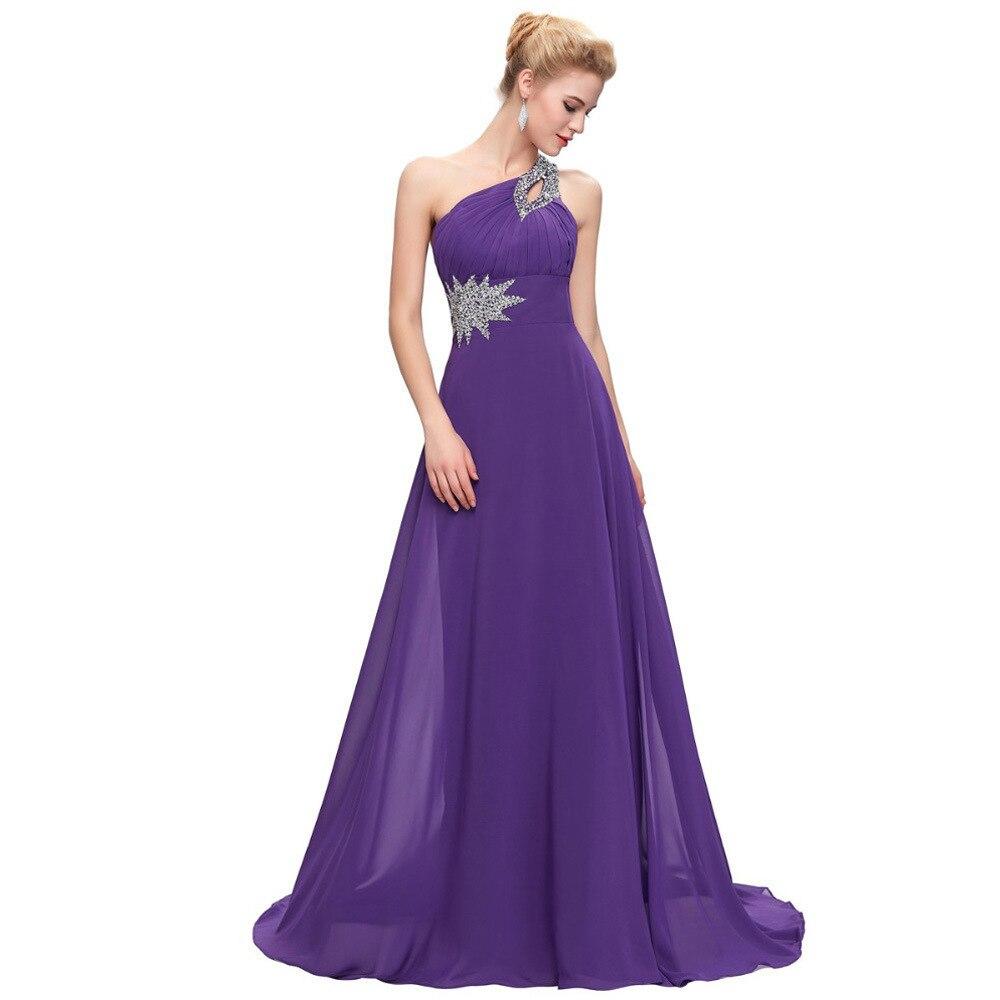 Mode une épaule perlée Robe de Demoiselle D'honneur longueur de plancher femmes Sexy robes de bal robes de mariée Robe Demoiselle D'honneur - 3