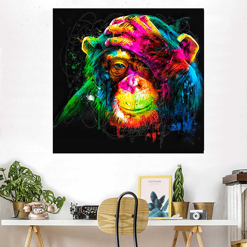Thinking Monkey animal Love Quotes Canvas Art Print Poster Creative Idea Good job Wall Picture Painting Home Kids Room Decor