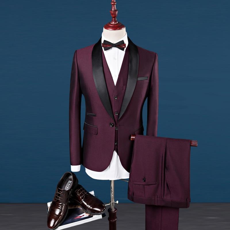 Costume bordeaux hommes châle revers marié Tuxedos hommes costumes Slim Fit mariage meilleur homme Blazer avec pantalon et gilet cravate 3 pièces vin-in Costumes from Vêtements homme    1