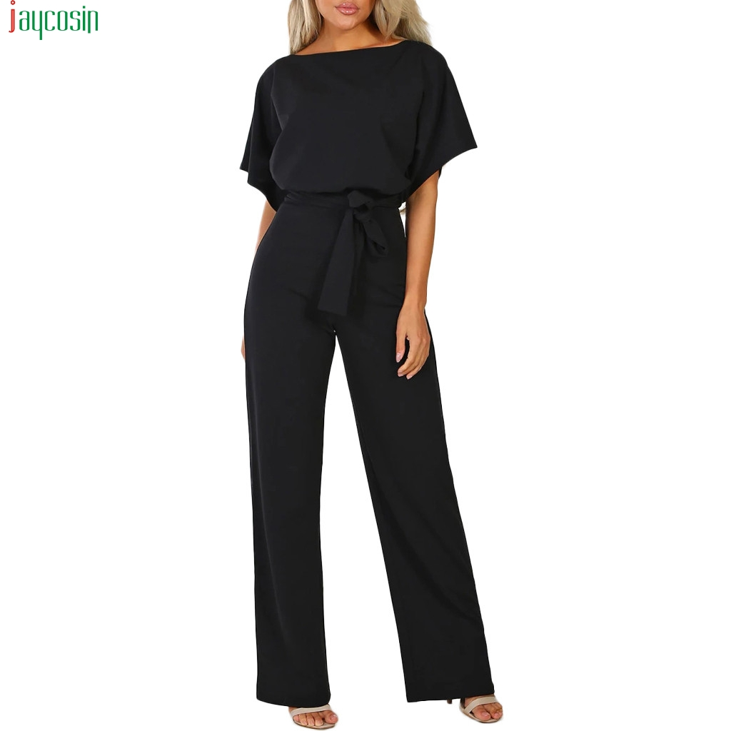 JAYCOSIN 2019 Rompers Women Short Sleeve Playsuit Clubwear Straight Leg   Jumpsuit   With Belt sexy rompers womens   jumpsuit   Pants