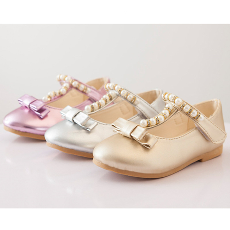 MiZi TerJoJo 2017 Girls Leather Shoes Girl School shoes girls Wedding shoes Chaussure Enfant Fille Pearl and bow decoration JM34
