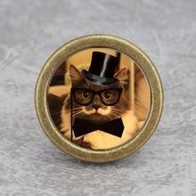 Gentleman Cat Knobs Drawer Dresser Handmade Kids Cupboard Handles Kitchen Cabinet Furniture Hardware