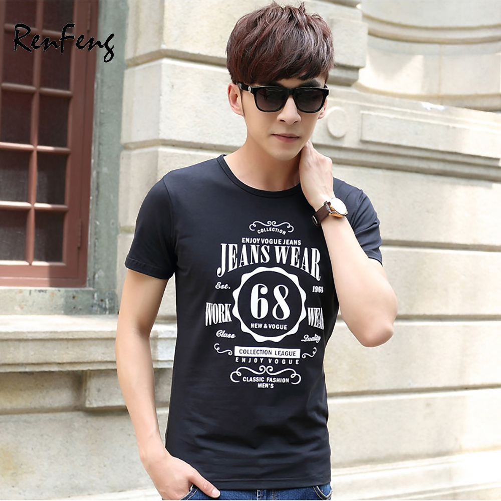 Classic Fashion mens mercerized cotton Tee Shirt Enjoy Vogue Jeans 1968 Funny t shirts Cool Confortable Hipster male T-shirts