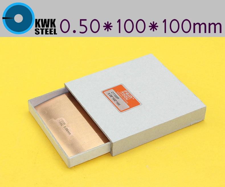 Copper Strips 0.50mm * 100mm *100mm Pure Cu Sheet  Plate High Precision 10pc Pure Copper Made In Germany