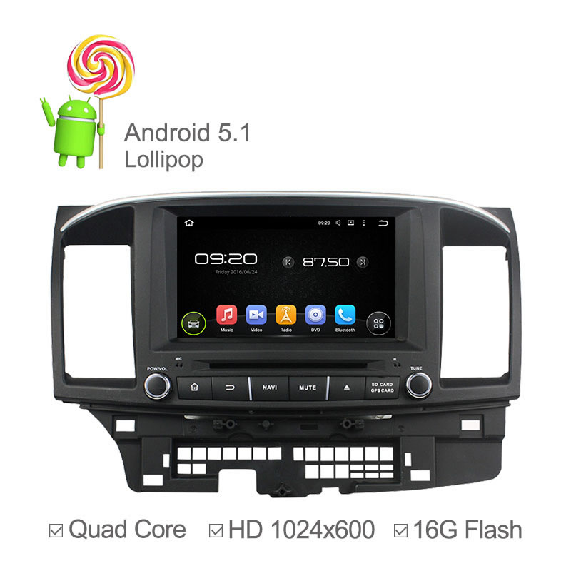 1024X600 Capacitive Quad Core font b Android b font 5 1 GPS Radio for Mitsubishi Lancer