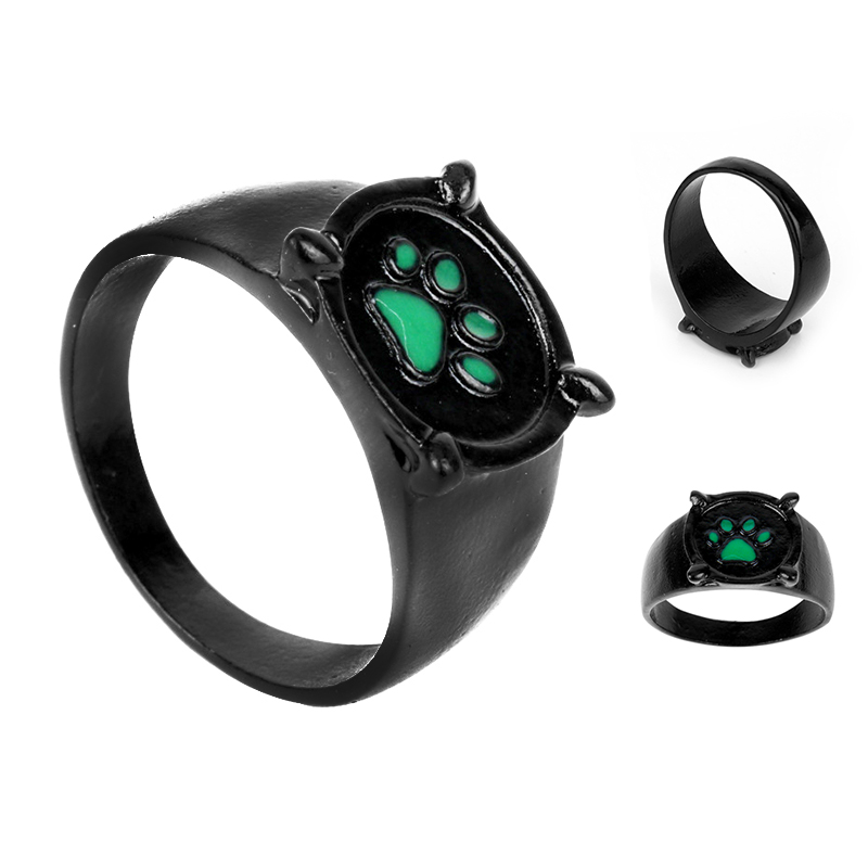 Fashion Jewellery Ladybug Cat Noir Cartoon Noir Green Pawprint Ring men and women Jewelry Christmas Gift