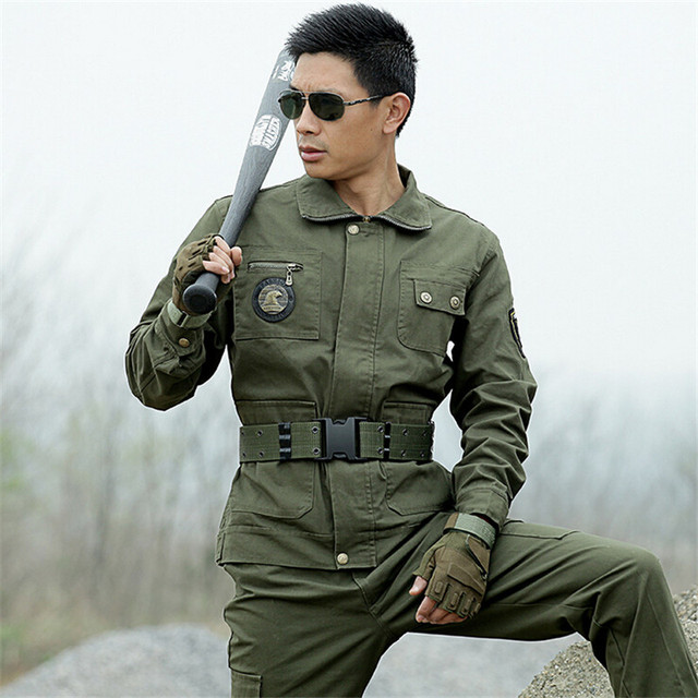 Autumn Brand 2016 outdoors tactical Army Green Military uniform combat jacket pant suit Sport MilitaryTraining 4XL Free Shipping