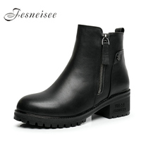 2017 New Fashion Genuine Leather Motorcycle Ankle Boots Female Zipper Mid Heels Platform Comfortable Spring Autumn