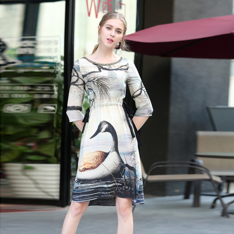 High quality 2018 spring Runway Swan Lake printing beaded lace half sleeves defined waist Women Knee-Length dress