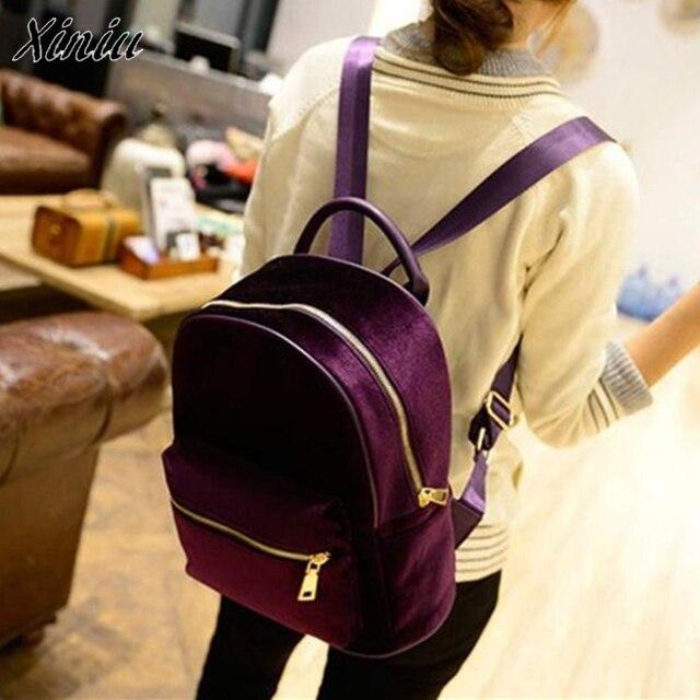 Bolsas 2017 Cute Backpack Women Gold Velvet Small Rucksack damen School bags  for women Book Shoulder c1e9b9c6ff761