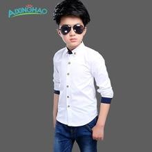 Aixinghao Spring Autumn Boys School Blouses Long Sleeve White Cotton Kids Children Shirts Teenage Big Kids