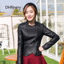 2017 spring new ladies leather Korean PU lady collar short section motorcycle jacket 15H1089
