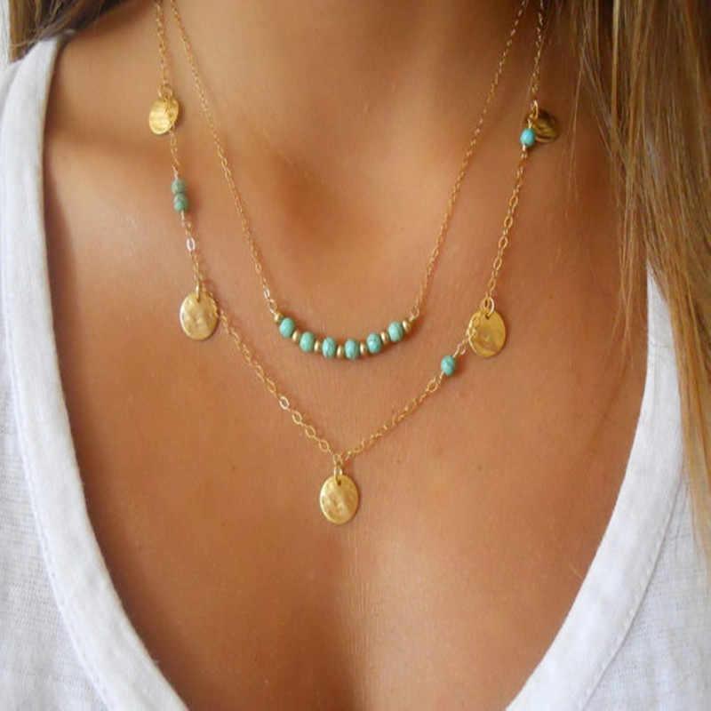 Châu âu và đơn giản trang sức/coin trân necklace quang học đa lớp đĩa và đúp pendant necklace Phụ Nữ