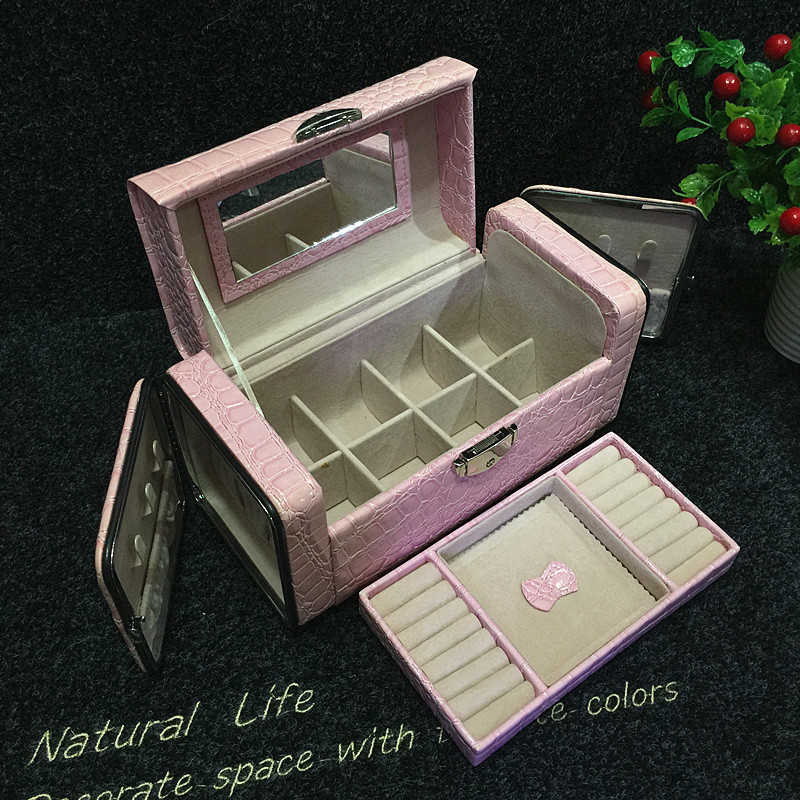 Stone Pattern Jewelry Display European Style Leather Jewelry Box For Women Portable Rectangle Gift Box Jewelry Organize