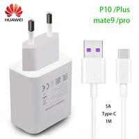 HUAWEI Compañero de P10 Plus Cargador Rápido 9 10 Pro Sobrealimentar Viaje rápido Adaptador de Pared 4.5V5A/5V4. 5A Tipo-c USB 3.0 Cable 1 M Original