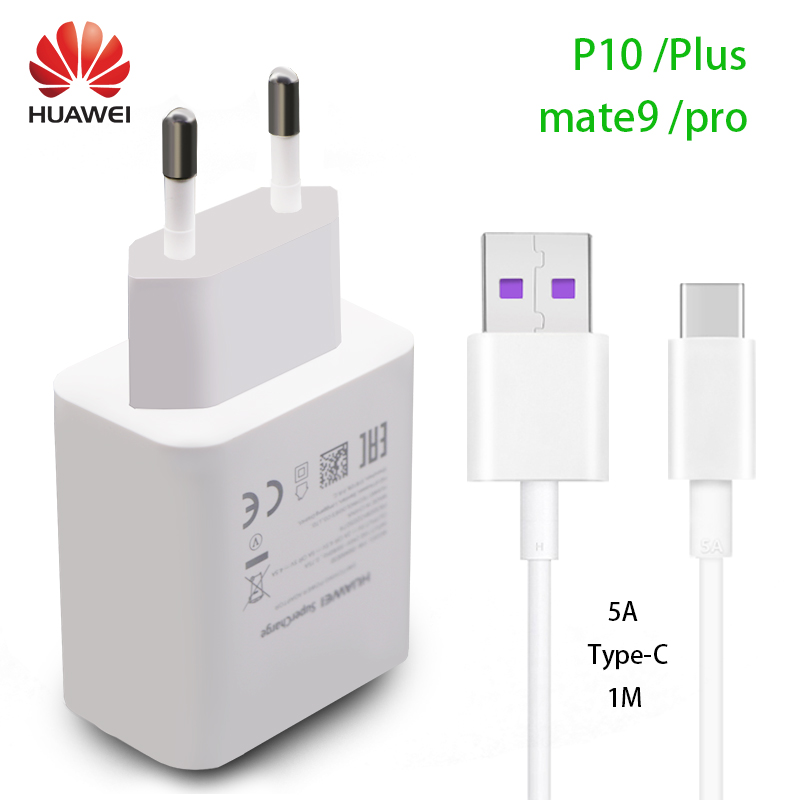 HUAWEI P10 Plus Fast Charger Mate9 Pro Supercharge Quick Travel Wall Adapter 4 5V5A 5V4 5A