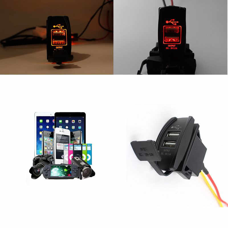 12V 24V Car Auto Boat Accessory Dual USB Charger Power Adapter LED Outlet  Car Charger Accessories # Z