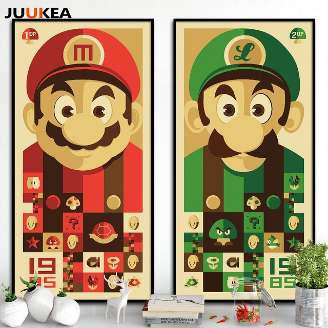 Super Mario Bros Classic Cartoon Game Posters And Canvas Print Painting,  Wall Picture For Home