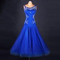 dress standard blue sleeveless ballroom dance competition dresses Sexy V neck waltz dress tango skirt