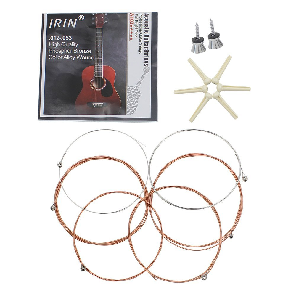 8pcs IRIN Folk Acoustic Guitar 3 in 1 Accessories Parts Set of Strings/6pcs Nail Pins/2pcs Strap Lock Pins Screws Pegs alice a203 replacement acoustic guitar strings set for folk guitar silver bronze 6 pcs