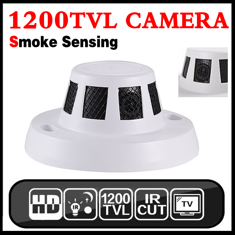 3.28BigSale HD Cmos 1200tvl CCTV mini Smoke camera Smoke sensing appearance IR-CUT indoorsecurity Surveillance vidicon