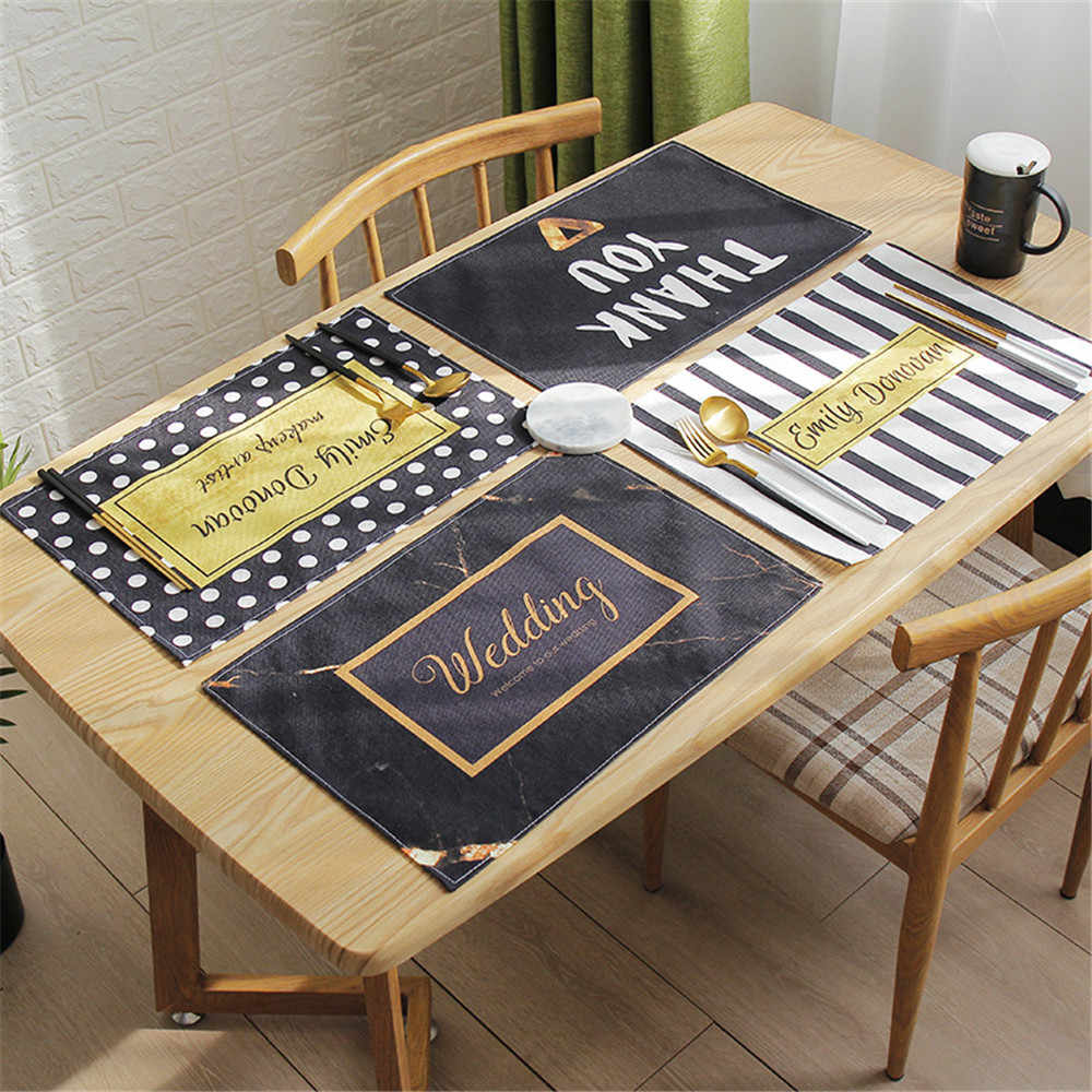 Creative Black White Linen Placemat Stripe Wavy Circle Pattern Dining Table Mat Heat Insulation Placemats Bowl Coaster 1PCS