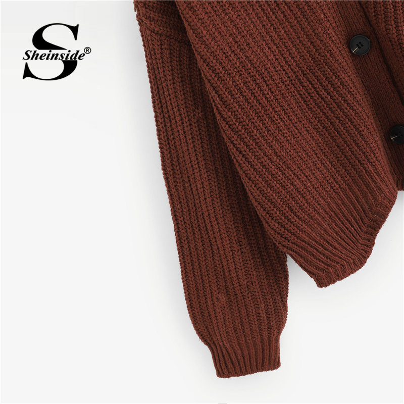 bf398faf77006 Sheinside Brown Single Breasted Solid Sweater Cardigan Women Clothes 2018  Autumn Fashion Womens Sweater Long Sleeve Ladies Coats-in Cardigans from  Women's ...