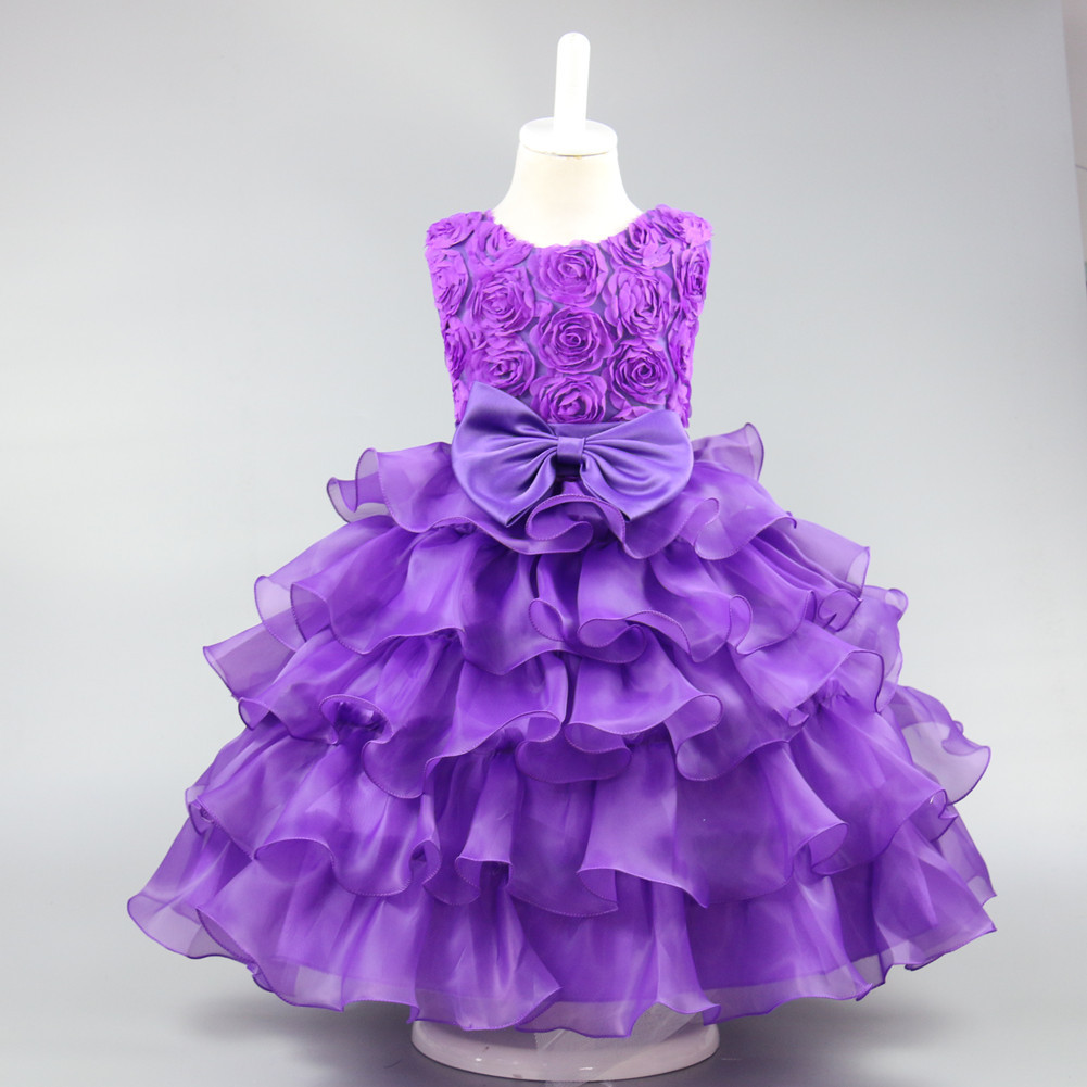 2018 summer Fashion Children's dress Rose bowknot princess wedding dresses Girls birthday party for 3 4 5 6 7 8 9 10 years old fashion 2 3 4 5 6 7 8 years girls children wedding clothes flying sleeve ruffles short birthday princess dresses for party