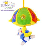 Itty-çelimsiz Müzikal Peluş Dolması Maymun Bebek Bebek Oyuncakları Arabası Beşik Çekin Halindeyken Melodi ve Dans Işıkları