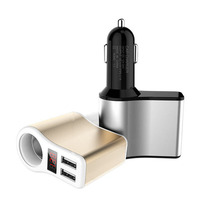 New Digital Display Dual Car Charger USB Port for Phone Charging Phone USB Dual  Adapter Auto