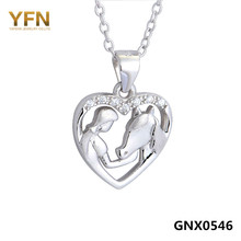 GNX0546 100% Real Pura Plata 925 Colgante de Corazón de Cristal Collar de La Muchacha y Caballo Joyería de San Valentín Regalos Para Las Mujeres