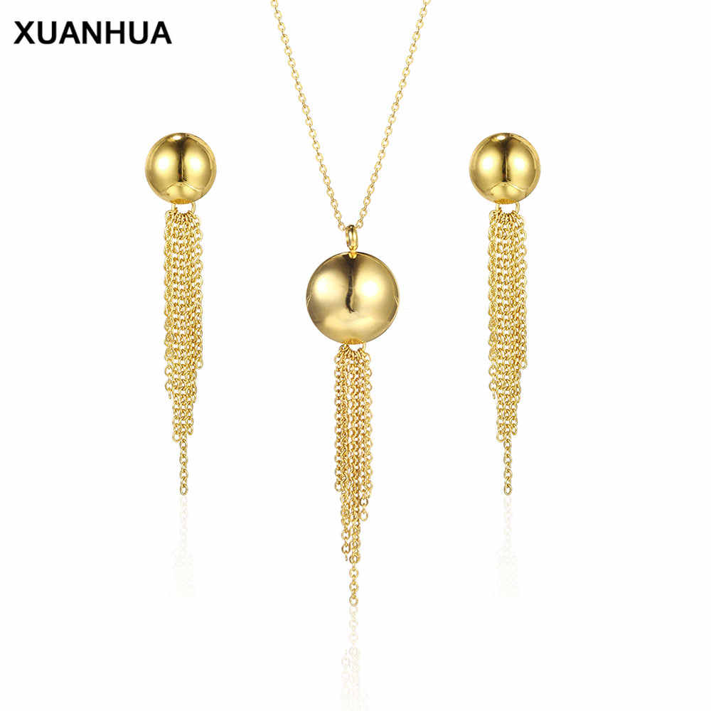 XUANHUA Charm Stainless Steel Jewelry Woman Vogue 2019 Tassel Necklace And Earring Sets Fine Jewelry Accessories Bohemian