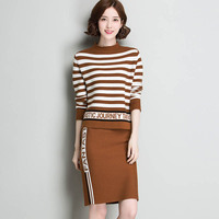 Spring And Autumn Knit Suit Ms Korean Version Of The Stripe Was Thin Package Hip Skirt