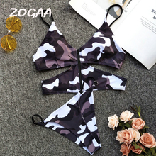 цена на ZOGAA Sexy Two Pieces Swimsuits Women Bikini Set Swimwear Zipper Printed Bikini Female Bathing Suit Swim Beach Wear 2019