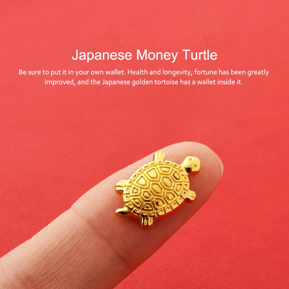 Golden Small Asakusa Turtle Temple Tortoise Talisman Amulet Money Pz SQ AE