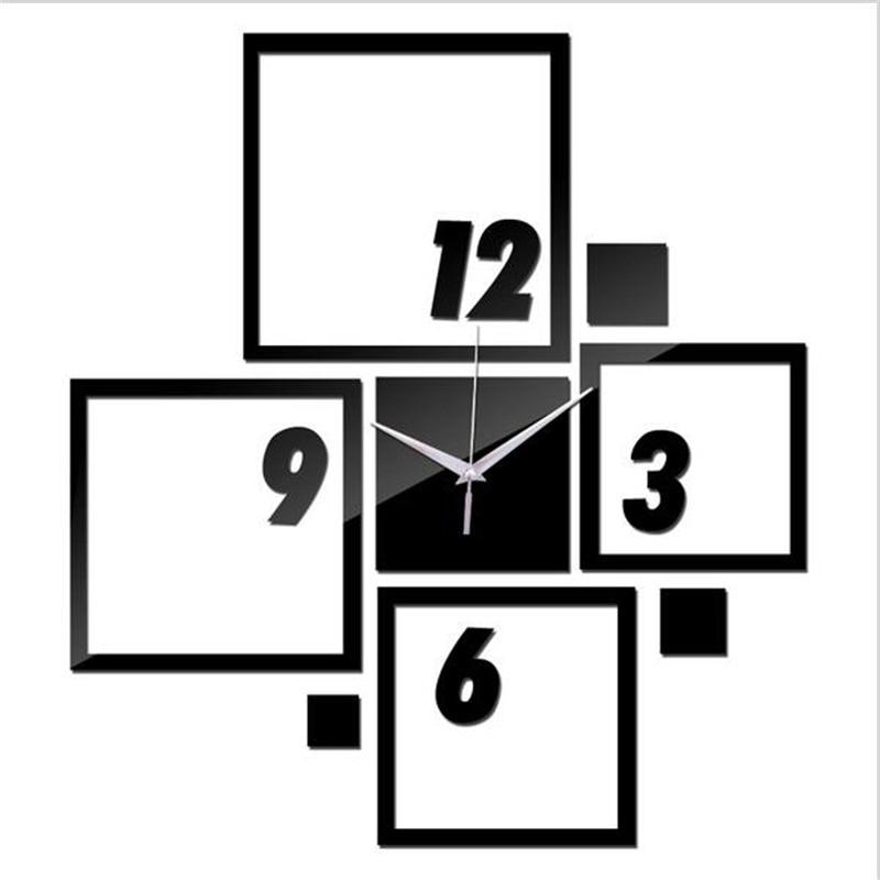 3D Fashion Wall Clock Modern Personalized Design Silent Quartz Clocks Home Decor Wall Clock Sticker Digital Wall Clock