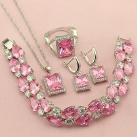 Womens Jewelry Sets Pink Green Red Yellow Rainbow Square Stone Silver Color Drop Earrings Pendant Ring