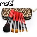 MSQ 6 pcs Mini Escova da Composição Do Cabelo Animal Set 3 Cores Fazer Up Jogo de Escova Com Saco Leopardo de Alta Qualidade Ferramenta de Cosméticos Para beleza