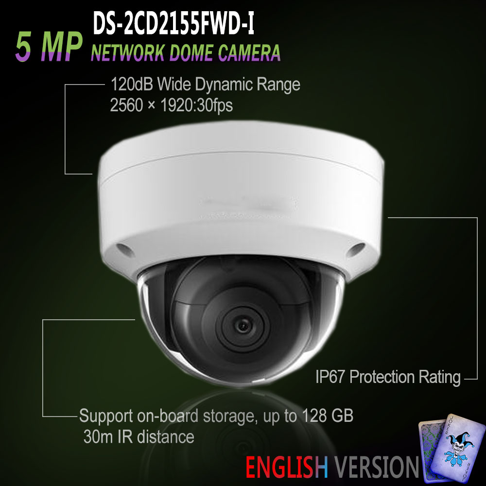 hikvision ds 2cd2155fwd i new english oversea version ip housing 5mp dome ir camera poe security. Black Bedroom Furniture Sets. Home Design Ideas