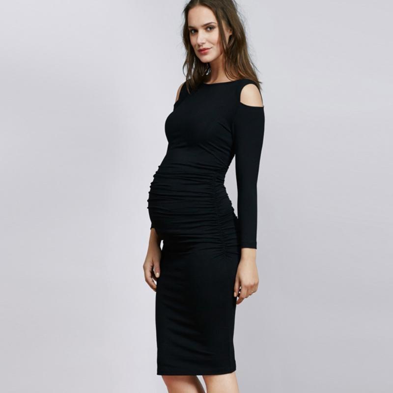 Elegant Black Maternity Dress Pregnancy Women Knee-length Shoulder Slim Dresses Mother Fashion Cotton Clothes