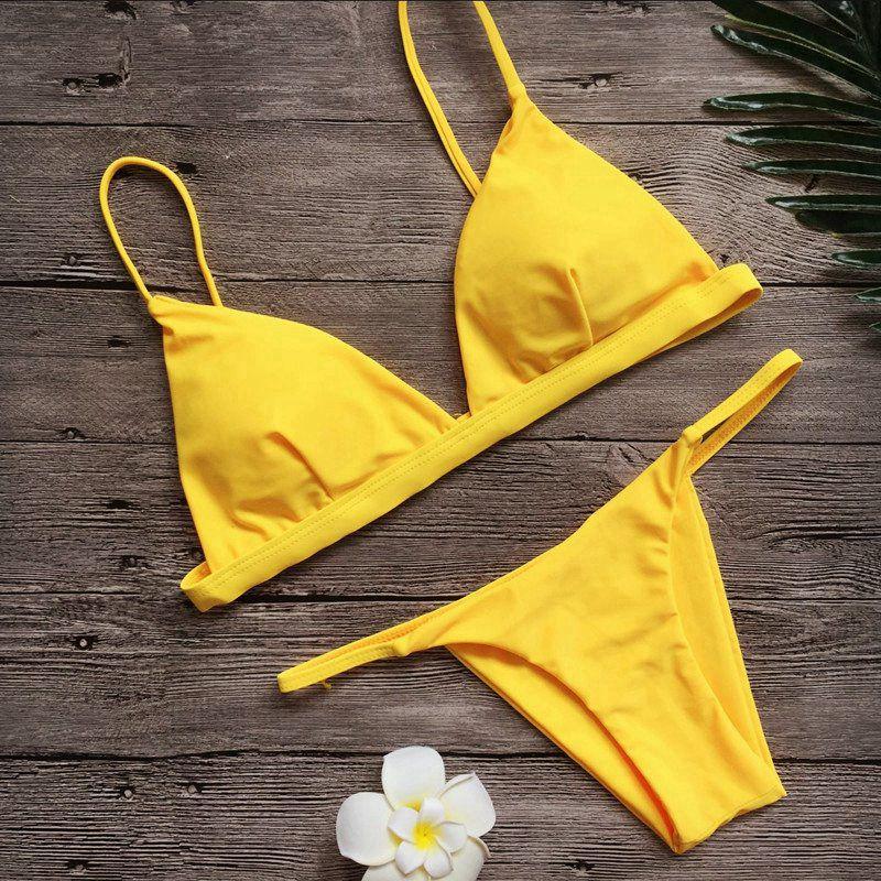 2018 Donne di colore giallo Bikini Set Costume Da Bagno Bikini ... f4b665ec2cf