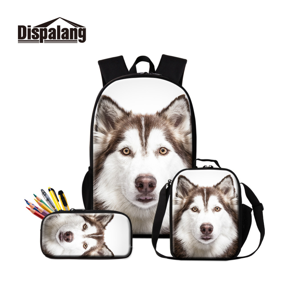 Husky School Backpack Pattern Dog Printed Satchel Girls Small Thermal Lunch Box Cute Book Bag for