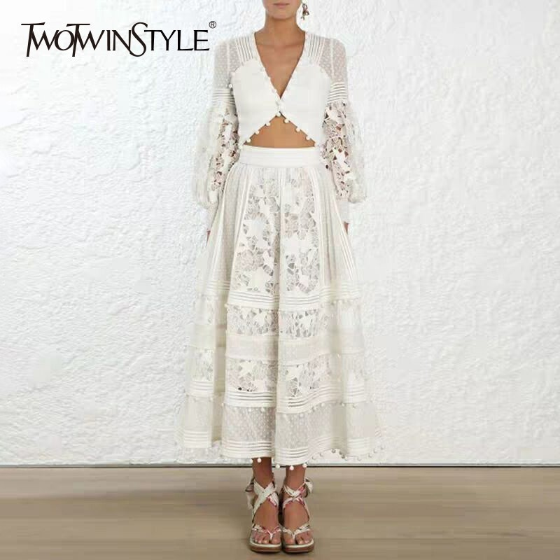 TWOTWINSTYLE Hollow Out Sexy Women s Dresses V Neck High Waist Lantern Sleeve Patchwork Hair Ball