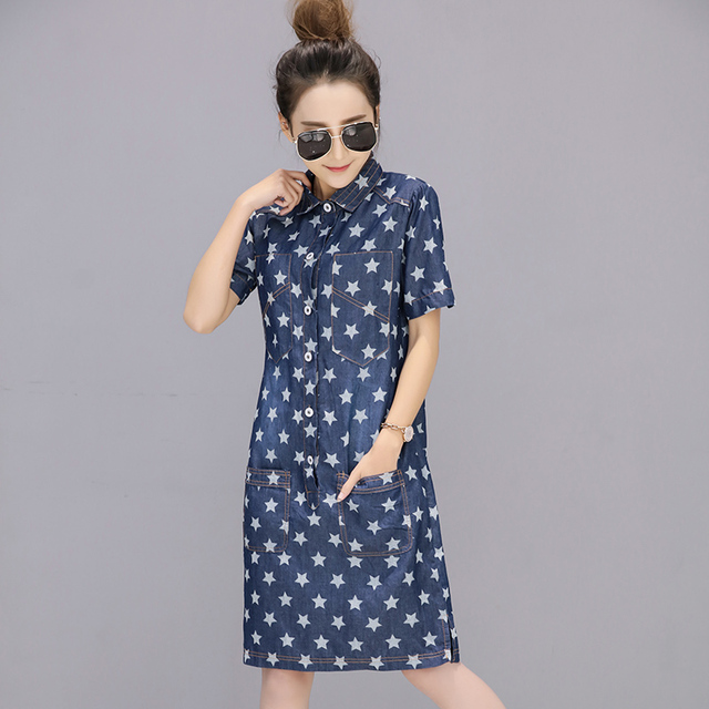 2017 лето повседневная мода ву dress коротким рукавом свободные тонкий коровы платья синий 1538