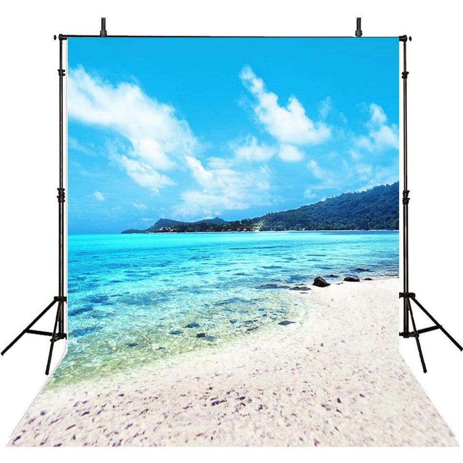 blue sky white clouds mountain sea ocean beach photo backdrop Vinyl cloth High quality Computer print wall Background