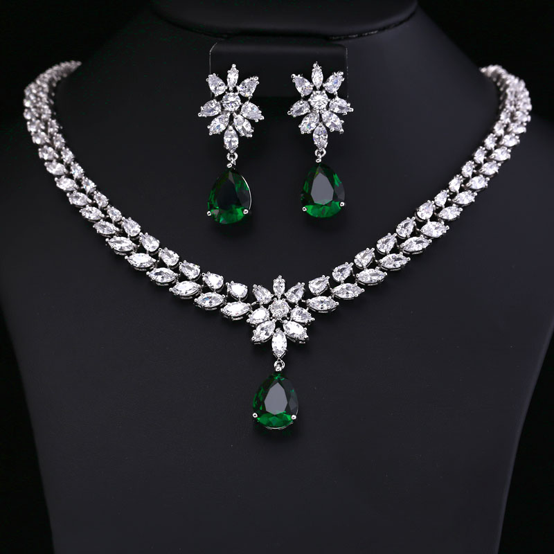 COlOR BEST QUALITY BRILLIANT CRYSTAL ZIRCON EARRINGS AND NECKLACE JEWELRY SETS AND MORE WEDDING DRESS ACCESSARIES