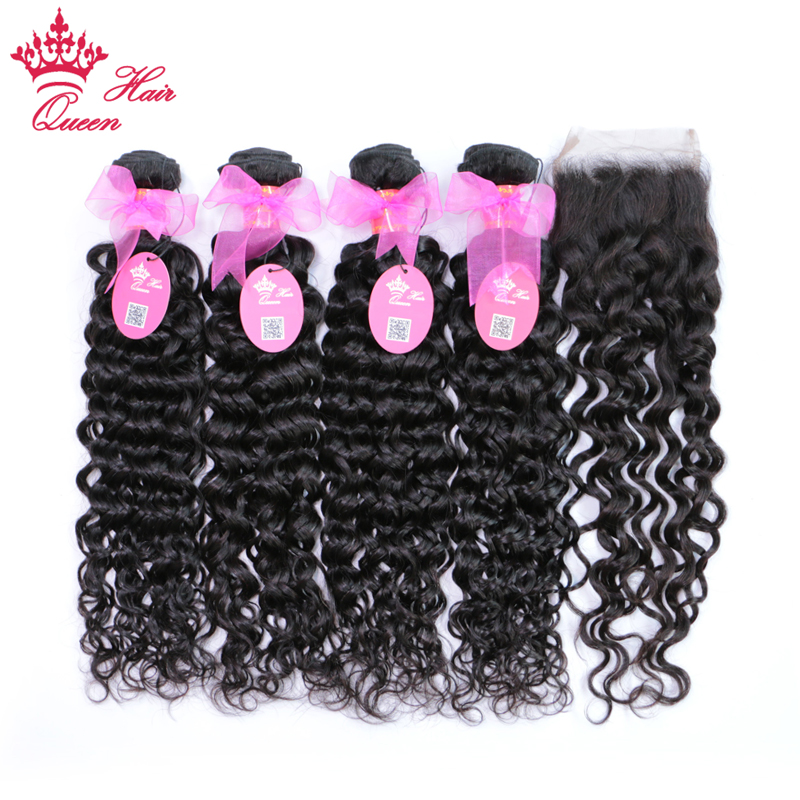 Queen Hair Brazilian Water Wave Hair With Closure Free Part 100% Remy Human Hair 4 Bundl ...